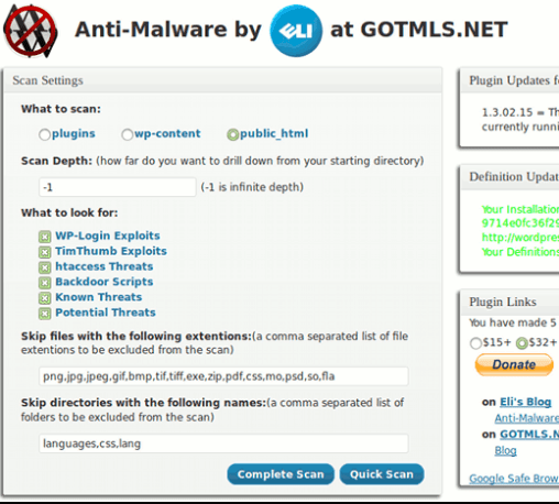 Anti-Malware Security and Brute-Force Firewall Scan Settings