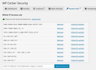 Cerber Security & Antispam Access List
