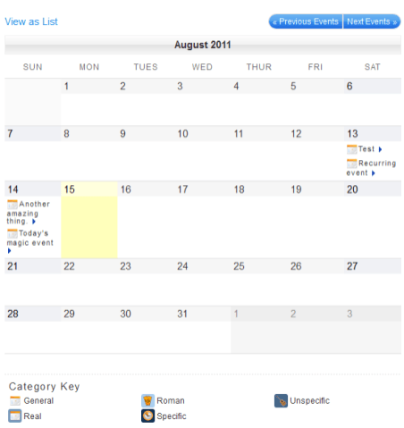 My Calendar Calendar View