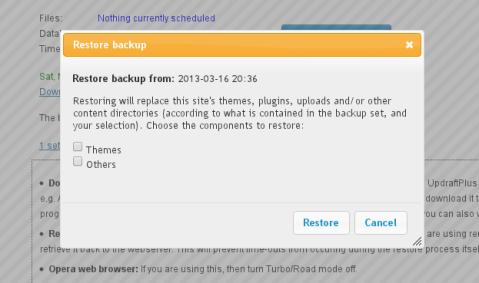 UpdraftPlus WordPress Backup Plugin Restore Backup