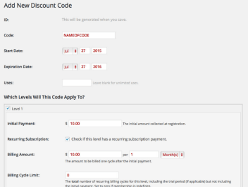 Paid Memberships Pro Discount Code