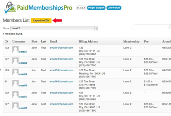 Paid Memberships Pro Member List