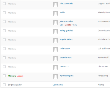 user's activity in the first column