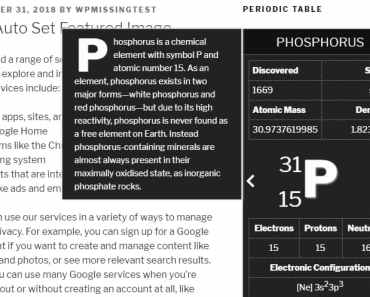 Periodic Table Slider Widget For Wordpress