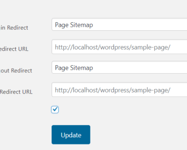 Select pages or define custom URL Redirect