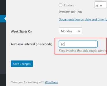 Customize the Autosave Interval With Change Autosave Time Plugin