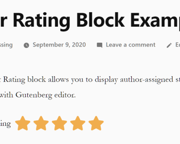 Read-only Star Rating Block For Wordpress