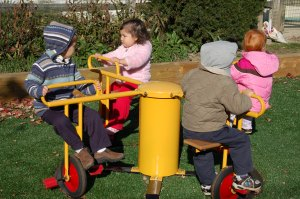 the merry-go-round on the toddler playground