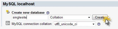 Insert the name of your database and choose utf_unicode_8 for collation