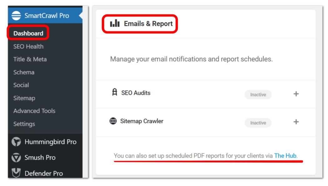SC setup emails thru dashboard