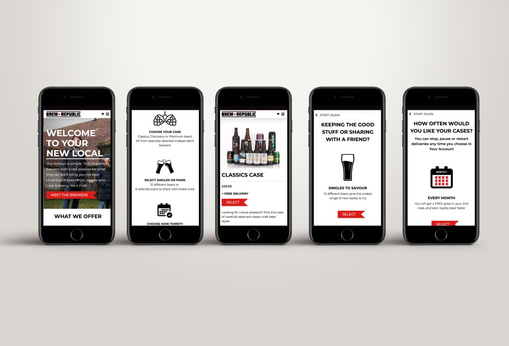 Website pages from Brew Republic shown on mobile devices