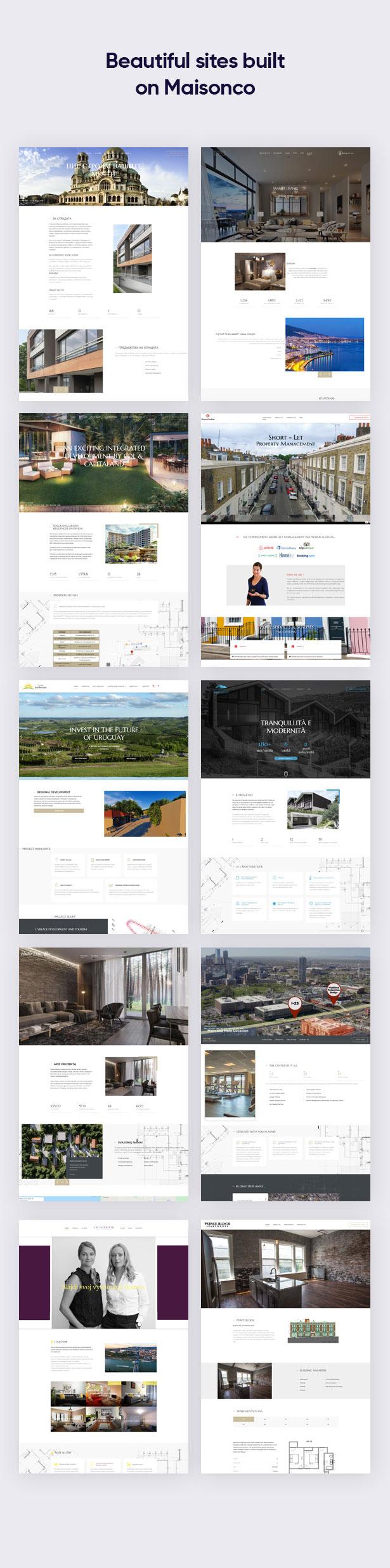 Beautiful sites built on MaisonCo Single Property For Sale & Rent WordPress Theme