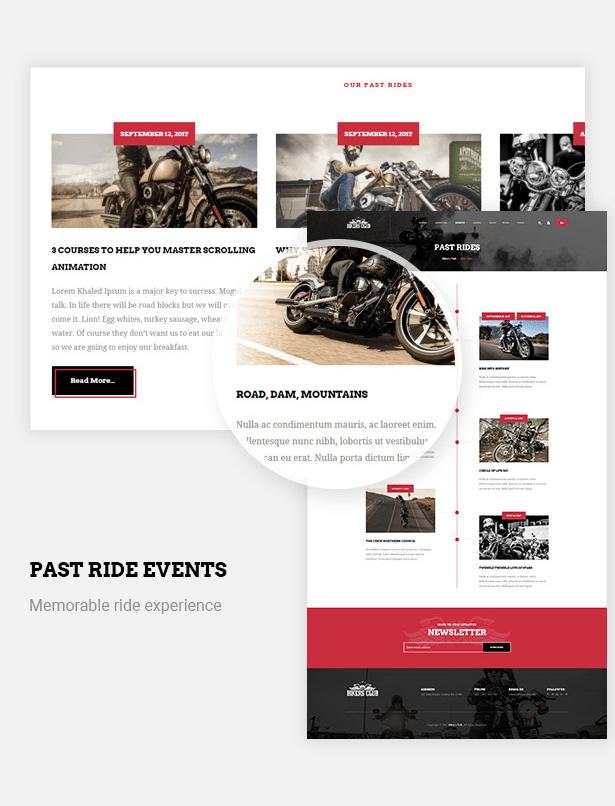 past rider events in Bikersclub Motorcycle WordPress Theme