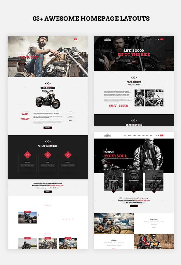 multiple homepage layouts of Bikersclub Motorcycle WordPress Theme