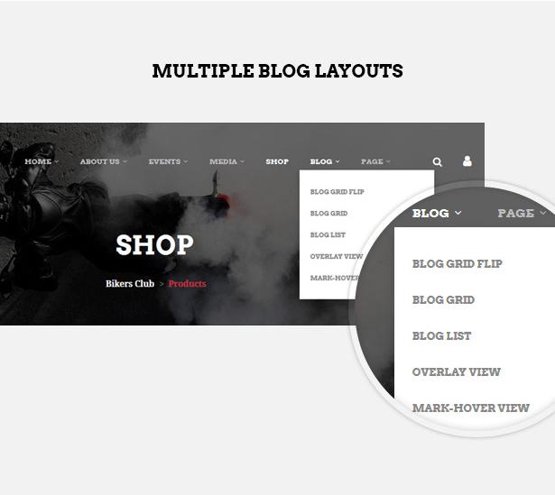 Multiple blog layouts in Bikersclub MotorBike club WordPress theme