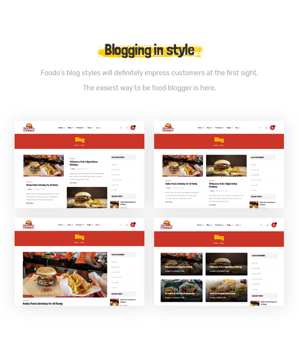 Foodo Blog Pages- WordPress theme for a fast food restaurant