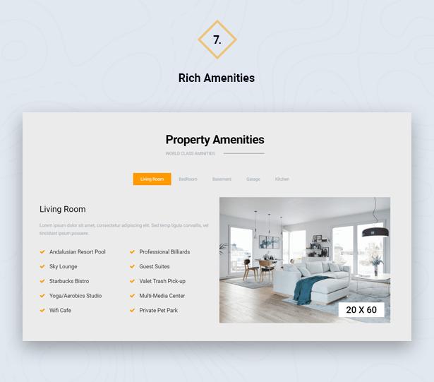 Property Amenities in HouseSang Single Property WordPress Theme