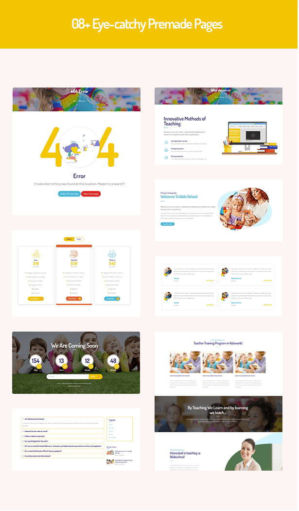 08 inner pages in Ibble Education WP Theme