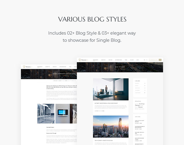 Various Blog Styles in MaisonCo - Single Property For Sale & Rent WordPress Theme