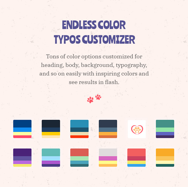 Petie - Pet Care Center & Veterinary WordPress Theme Unlimited Color Typoes