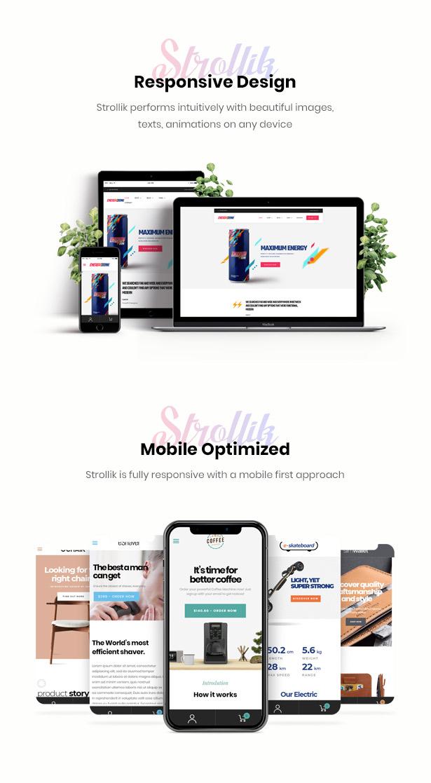 fully responsive Strollik single product WooCommerce WordPress theme