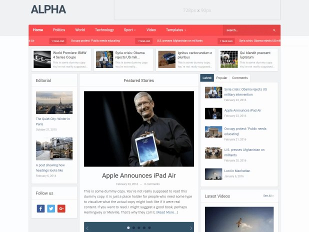 Alpha – Best News Magazine Theme