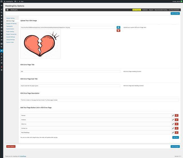 WeddingCity - 404 Error Page Setting
