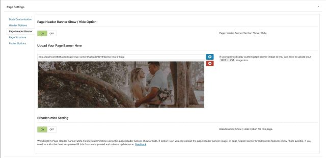 WeddingCity Page Header Banner Setting