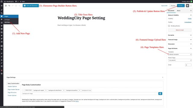 WeddingCity - WordPress Page Setting
