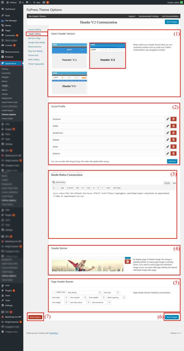 Header Setting V.2 - FixPress