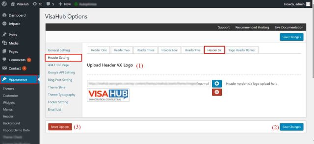 Header V.6 Setting - Visahub