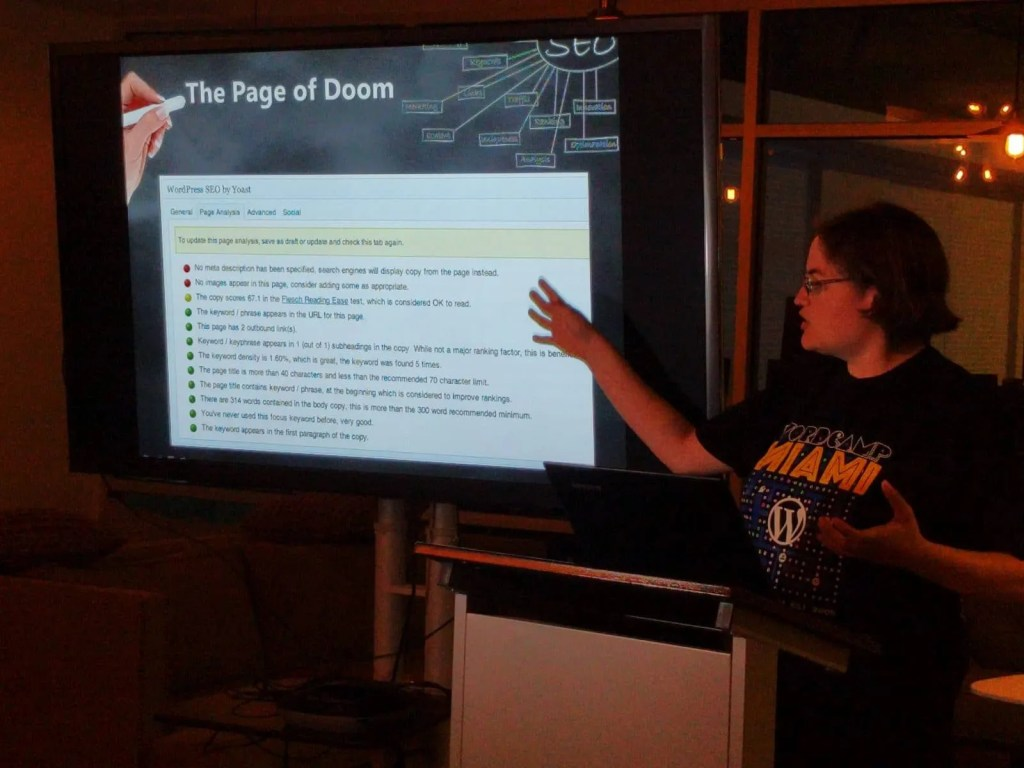 Lisa Melegari presenting about Yoast SEO at WordPress Orlando