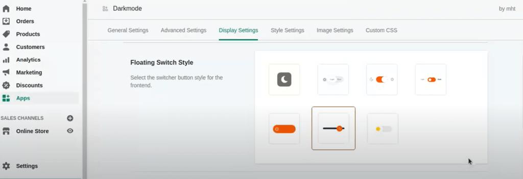 switch style Shopify Dark Mode