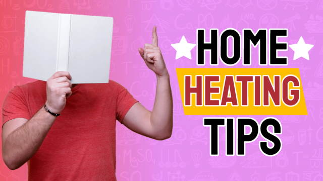 Home Heating Tips featured image showing a guy with his face deep in a DIY book.