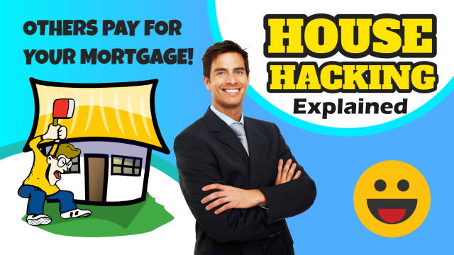 Cartoon illustrates house hacking where others pay your mortgage!