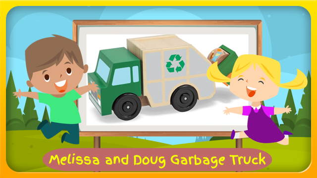"""Image with text: """"Melissa and Doug Garbage Truck""""."""