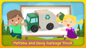 "Image with text: ""Melissa and Doug Garbage Truck""."