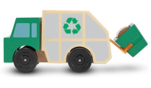 Melissa and Doug garbage truck wooden toy side view
