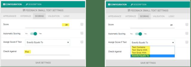 Feedback element scoring