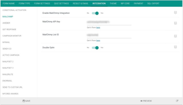 Mailchimp integration settings
