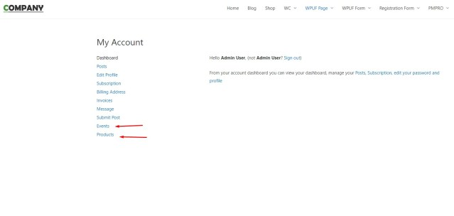 How to add a custom section-menu on WPUF Account page 2