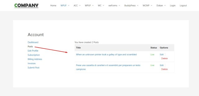How to add a custom section-menu on WPUF Account page 1