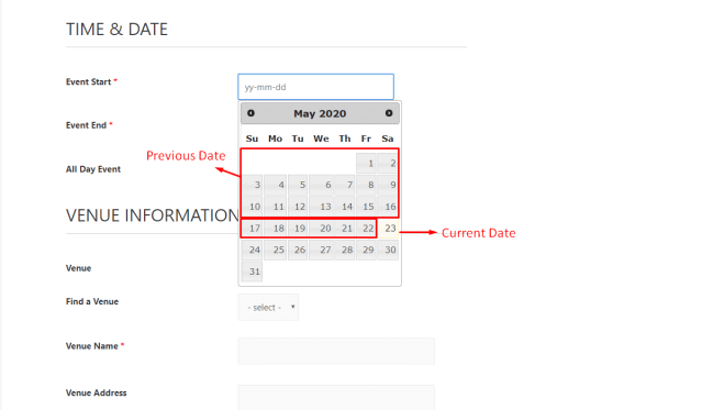 How to prevent users to select older date on The Events Calendar 1