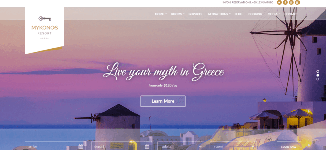 Mykonos Resort, Premium hotel theme, WordPress hotel theme