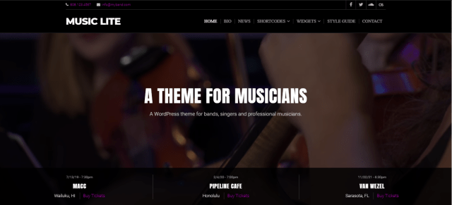 Music Lite. free WordPress themes for musicians