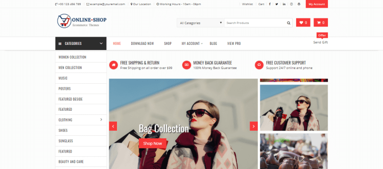 WooCommerce WordPress themes, Online Shop