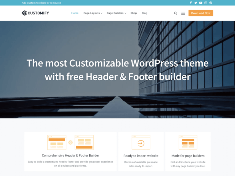 Free responsive WordPress themes, Customify