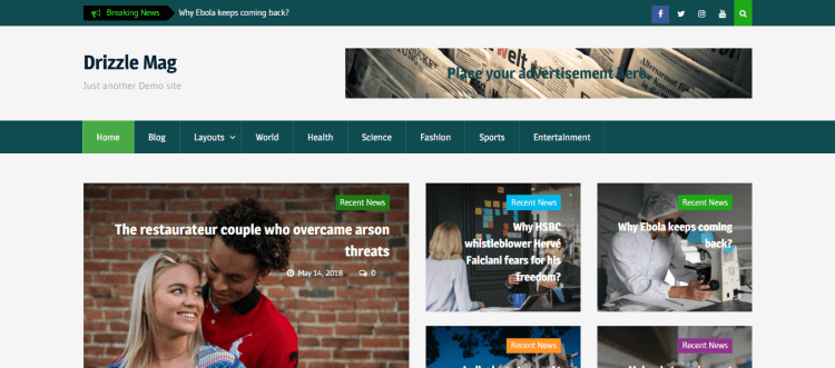 Best Free WordPress themes, Drizzle Mag