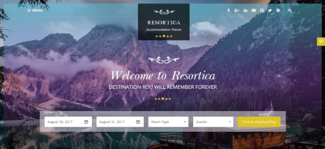 Resortica, Hotel Premium Theme, WordPress theme