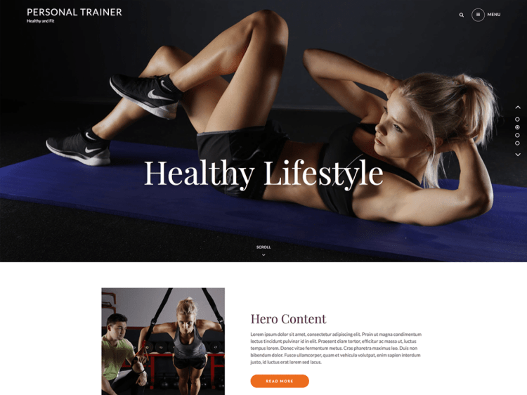 Personal Trainer, free fitness WordPress themes